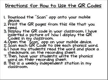 First Grade Phonics Words Scan It, Read It, Write It QR Codes Package 4