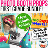 First Grade Photo Booth Props 1st Day of School, 100th Day, Birthday, Lost Tooth