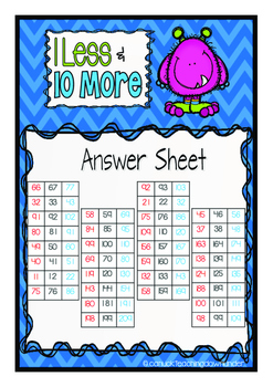 First Grade Place Value 1 Less and 10 More Freebie!
