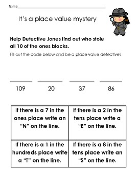 First Grade Place Value Detective