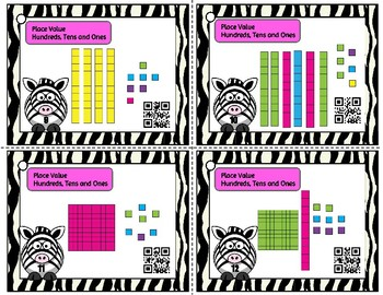 Place Value to 120 - 32 Task Cards with/without QR and optional matching cards