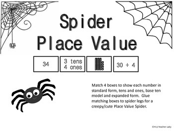 First Grade Place Value Spiders