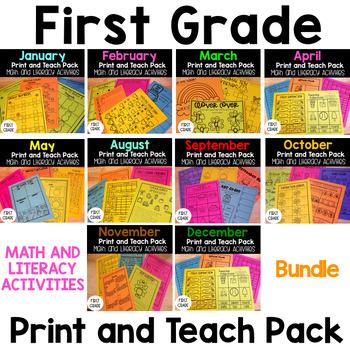 First Grade Print and Teach Pack Bundle-No Prep