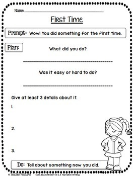 First Grade Writing Prompts for the Year