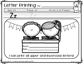 Common Core: First Grade Printing - Upper & Lowercase Letters {L.1.1a}