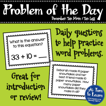 First Grade Problem of the Day - December