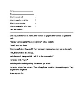 First Grade Punctuation Story Reading Activity