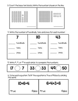 First Grade Q2 Math Review/ Practice Test