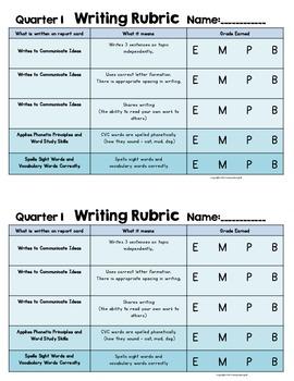 First Grade Quarter 1 writing Rubric