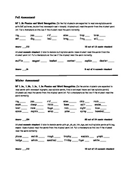 First Grade Quick Common Core Phonics Assessment