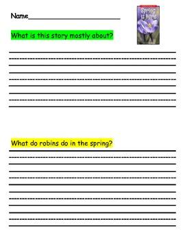 First Grade RI.1.2 Main Idea and Details