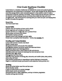 First Grade Readiness Checklist