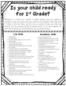 First Grade Readiness Note