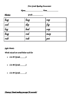 First Grade Reading Assessment Phonics, Sight Words, Comprehension & Fluency