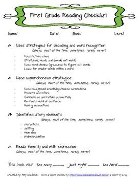 First Grade Reading Checklist