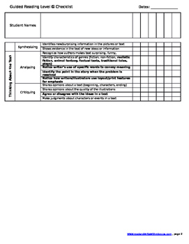 First Grade Reading Checklists- Level B-K (Bundle)