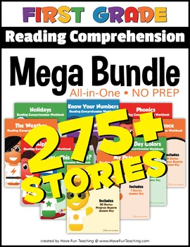 First Grade Reading Comprehension NO-PREP ALL-IN-ONE MEGA BUNDLE (275+ STORIES)