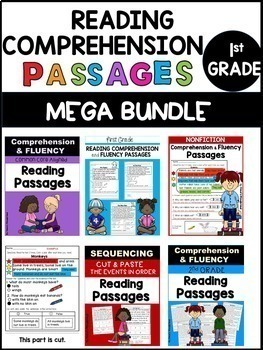 First Grade Reading Comprehension Passages and Questions MEGA BUNDLE