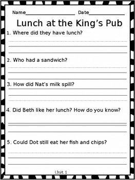 First Grade Reading Comprehension Response Sheets, CKLA Assessment & Remediation