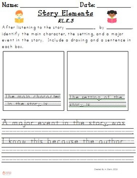 First Grade Reading Extended Response Set 1.RL.3