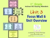 First Grade Reading Focus Wall supports Unit 3 McGraw Hill Wonders Grade 1