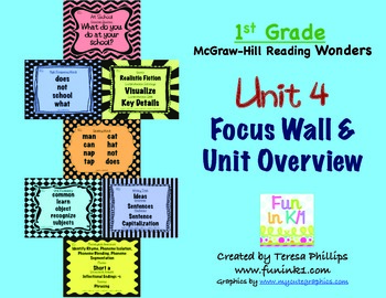 First Grade Reading Focus Wall supports Unit 4 McGraw Hill