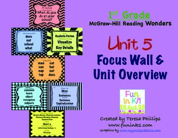 First Grade Reading Focus Wall supports Unit 5 McGraw Hill Wonders Grade 1