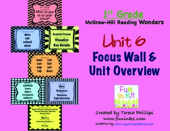 First Grade Reading Focus Wall supports Unit 6 McGraw Hill Wonders Grade 1