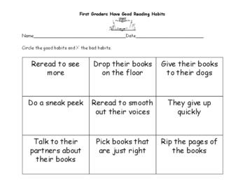 First Grade Reading Habits