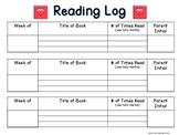 First Grade Reading Log FREEBIE!
