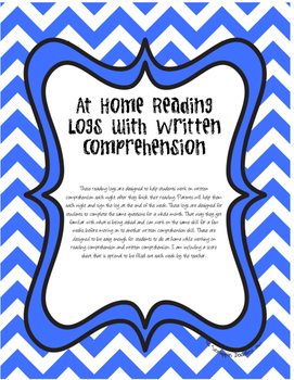 First Grade Reading Logs with TRC Written Comprehension for all Year