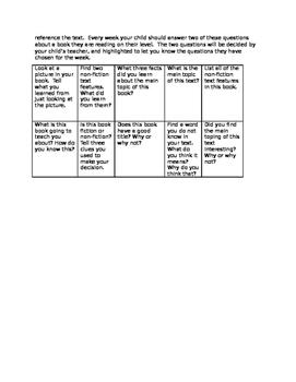 First Grade Reading Response Homework