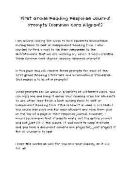 First Grade Reading Response Journal Prompts (Common Core Aligned!)