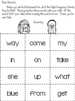 First Grade Reading Street HFW Take-Home Flashcards and Checklists