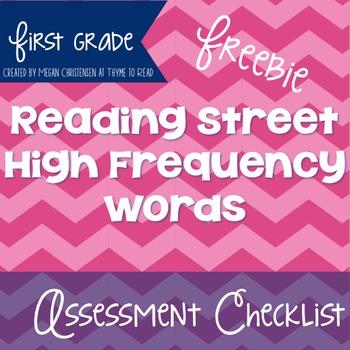 First Grade Reading Street High Frequency Word Assessment Checklist {FREEBIE}
