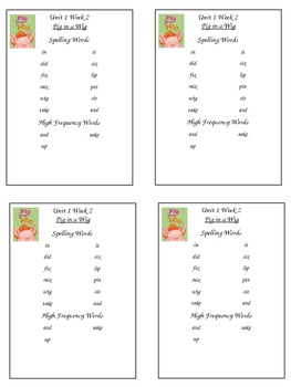 First Grade Reading Street Spelling Packet Unit 1 Week 2 Pig in a Wig