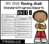 First Grade Reading Street Standard Progress Report Unit 1
