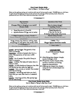 First Grade Reading Street Unit 3 Weekly Skills