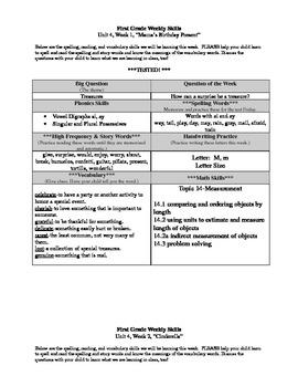 First Grade Reading Street Unit 4 Weekly Skills