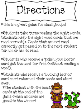 First Grade Reading Street Units 1-5 Sight Word Rodeo Game