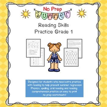 No Prep Summer Reading Skills Practice for First Grade