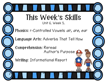 First Grade Reading Wonders Lesson Plans and Extra Activities Unit 6 Week 5