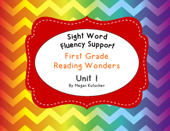 First Grade Reading Wonders Sight Word Fluency Activities Unit 1