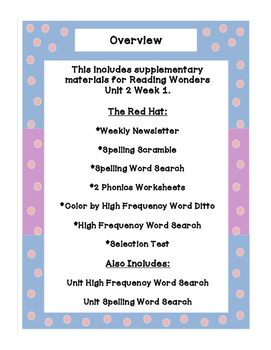 First Grade Reading Wonders Supplemental Bundle for Unit 2 Week 1 The Red Hat!