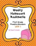 First Grade Reading Wonders Unit 1 Homework Bookmarks