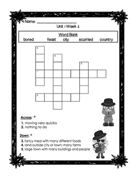 First Grade Reading Wonders Unit 1 Oral Vocabulary Crossword Puzzles!
