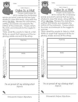 First Grade Reading Wonders Unit 2 Homework Bookmarks