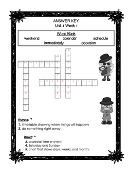 First Grade Reading Wonders Unit 3 Oral Vocabulary Crossword Puzzles!
