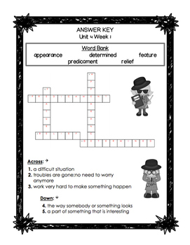 First Grade Reading Wonders Unit 4 Oral Vocabulary Crossword Puzzles!