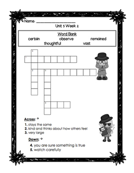 First Grade Reading Wonders Unit 5 Oral Vocabulary Crossword Puzzles!